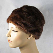 Vintage 1950s Hat Freiman Dark Brown Mink Pillbox or Cloche