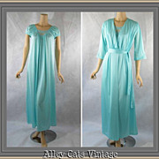 Vintage 1980s Lorraine Aqua Nightgown and Robe Peignoir Set Sz M B40