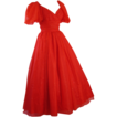 Vintage Formal Gown Mike Benet Red and Gold Chiffon Ballgown Sz 8 B34 W25