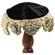 Vintage 1950s Frank Palma Cocktail Hat Black and Cream Fur Beaded