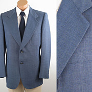 Vintage Mens Lanvin Sports Jacket Medium Blue Gray Tweed C44 W42
