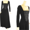 Vintage Evenng Gown Tadashi Black Velvet Renaissance Style Formal Party Dress Sz 10