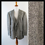 Vintage Mens Bert Pulitzer Sports Jacket Black and White Silk Tweed Jacket C44 W40