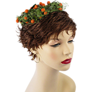 Vintage 1960s 60s Hat Coquette Mini Pillbox of Orange Berries