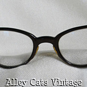 Vintage Eyeglasses Brown Pattern Cateye Glasses 1950s - 1960s American Optical