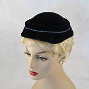 Vintage 1950s 50s Hat Navy Blue Velour Close Fit Cap by Gage with Blue Rhinestones