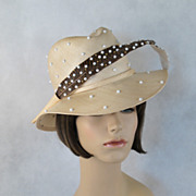 Vintage 1980s Hat Adolfo Realites Straw Ecru Beaded Fedora with Faux Beaded Feather