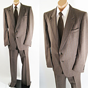 Vintage Mens Suit Brown Pinstripe by Adolfo - Bloomingdales Via Europa C46 W37