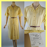 Vintage Casual Dress Nancy Frock Sunny Yellow Checked Shift B42 W42