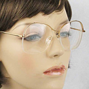 Vintage 1970s French Eyeglasses Semi Rimless Eyeglasses Goldtone Prescriptions
