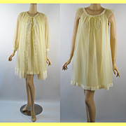 Vintage 1960s Miss Elaine Chiffon Gown and Robe Peignoir Babydoll Set Pale Yellow Gold Label B