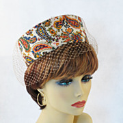Vintage 1960s Hat Paisely Multi-Colored Veiled Pillbox