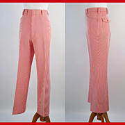 Vintage 1970s Trousers Red and White Striped Hagar Mens Slacks Pants W32 L40