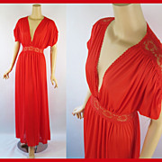 Vintage 1980s Bright Red Miss Elaine Nightgown w/ Tags NOS Sz M