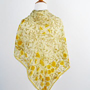 Vintage 1980s Vera Scarf Yellow and Green Floral w/ Lady Bug