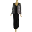 Vintage 1980s Jack Bryan Formal Gown and Beaded Jacket Black - Silver Sz 10