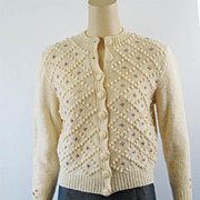 Vintage 50s Sweater Hand Knitted Wool Made in England Cream and Pink Rosettes Cardigan Sz 36