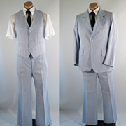 Vintage Mens Suit Blue and White Summer Pinstripe - 3 Piece Sz 42S
