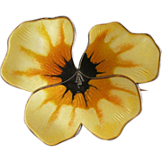 REDUCED Stunning David Andersen Norway Yellow Enamel + Sterling Pansy Pin