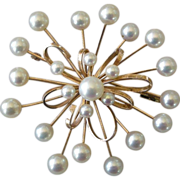 REDUCED Exceptional Modernist Starburst Pin 14K Rose Gold & Cultured Pearls