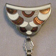 REDUCED Exceptional  Deco Pin Enamel on Chrome  with Dangle