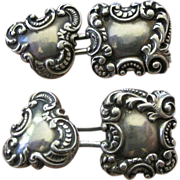 Ornate Victorian Era Sterling Silver Cuff Links Cuff Buttons