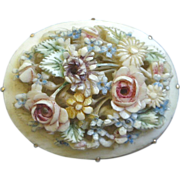 REDUCED Charming Victorian Era Pin, Natural Bone-like Material with Raised Carved Tinted Flowe