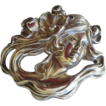 Exceptional Large Sterling Silver Art Nouveau Lady Face Pin