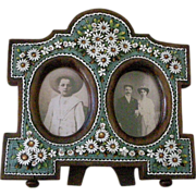 REDUCED Victorian Micro Mosaic Double Picture Frame Daisy Design on Wood