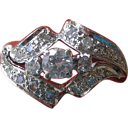 REDUCED Sparkle! Mid-Century 1950's 1/2 Carat Diamonds & 14K White Gold Ring
