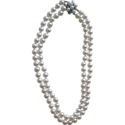 REDUCED Exceptionally Nice Double Strand 7.5 mm Cultured Pearls Necklace Diamond & 14K Clasp
