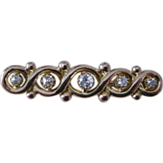 Classic Victorian Bar Pin 14K Yellow Gold 5 Diamonds