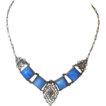Art Deco Necklace Filigree, Blue Art Glass Squares