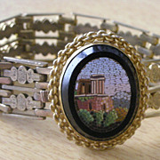 Exquisite Victorian Architectural Micro Mosaic Bracelet Ornate Gilt Wide Band