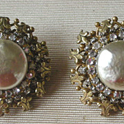 Vintage Miriam Haskell  Faux Pearl, Rhinestone & Gilt  Earrings