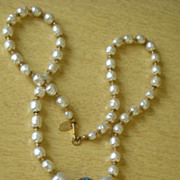 Vintage Miriam Haskell Faux Pearls with Cloisonne Enamel Necklace