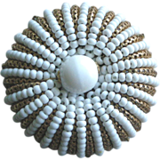 Very Pretty Miriam Haskell Mid-Century Pin White Beads + Gilt