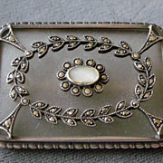 Art Deco Frosted Crystal Camphor Glass and Sterling Silver Pin with Marcasite Wreath Germany