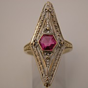 Art Deco style Ruby Ring