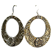 SOLD Handcrafted Fine Silver Hoop Dangle Earrings