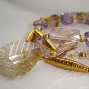 SOLD Golden Needles Rutilated Quartz, Ametrine, Amethyst & 24kt Gold Vermeil Necklace