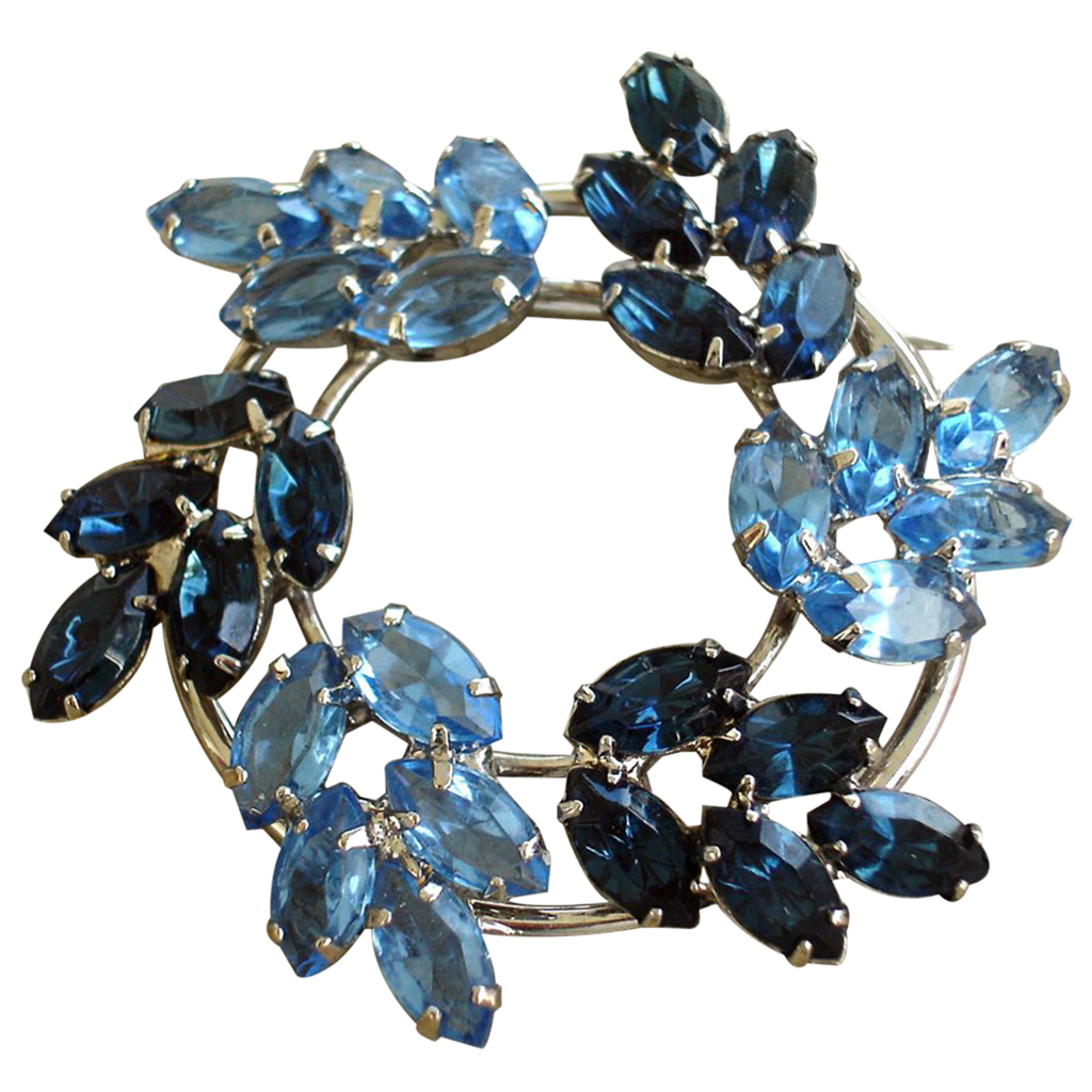 Vintage Blue Rhinestone Round Brooch