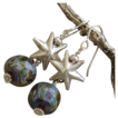 SALE Lampwork Boro Art Glass Bead SS Star Earrings