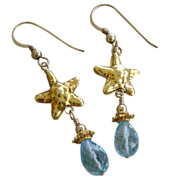 SOLD Aquamarine Gemstone & Starfish Earrings 22kt Gold Vermeil