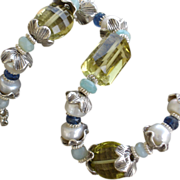 Faceted Lemon Green Quartz, Cultured Pearls, Sterling Silver Bracelet
