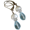 SALE Aquamarine and Cultured Pearl Sterling Silver Earrings