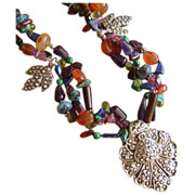 SOLD Gemstone Beaded Necklace with Fine Silver Pendant & Charms