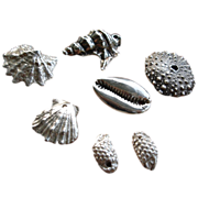 SOLD PMC Silver Seashells & Sea Life Charms � Artisan � 7 pieces