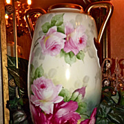 Austria/Limoges Huge Handled Signed Vase with Limoges Inspired Pink and Red Roses