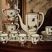 SOLD RARE Belleek Flying Geese Set Rockwell Silver Overlay